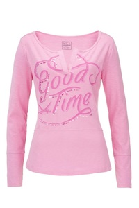 "Damen Longsleeve ""Good Time"" , pink, XS"