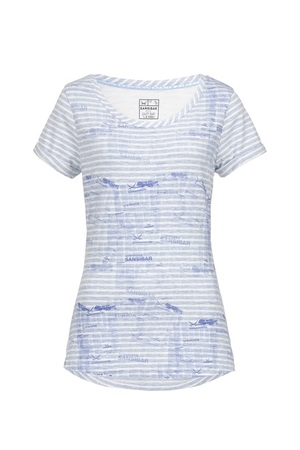 Damen T-Shirt NEWSPAPER striped , white/ blue, S