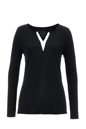 Damen Longsleeve DOUBLE V , black, XS