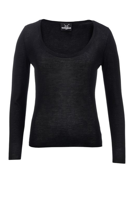 Damen Crew Neck Pullover Art. 992 , black, L