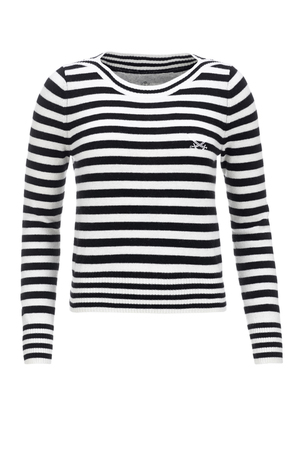 FTC Damen Pullover STRIPES 1086 , white/ black, XS