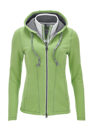 Damen Sweatjacke DOPPELKRAGEN , bright green, M