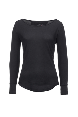 Damen Longsleeve SHEER , black, XS