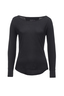 Damen Longsleeve SHEER , black, XXS