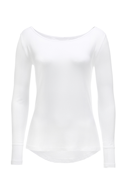 Damen Longsleeve SHEER , white, XL