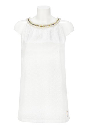 Damen Top ANGLAISE , white, XXS