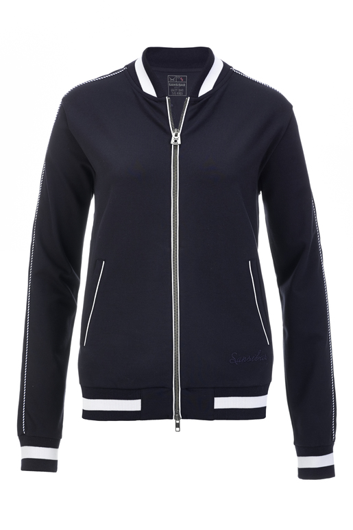 Damen College Jacke INTERLOCK , navy, L