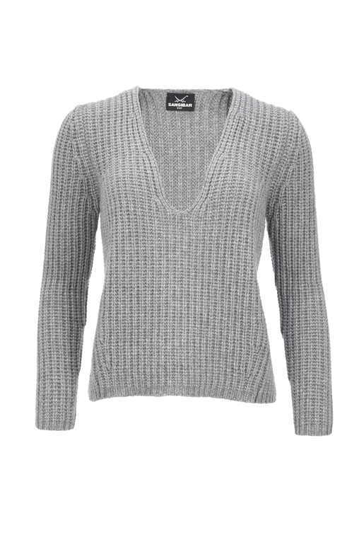 Damen Jumper Cashmere , grey, XXL