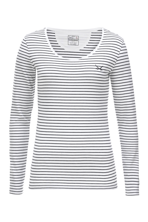 Damen Longsleeve STRETCH , white/ black, XXS