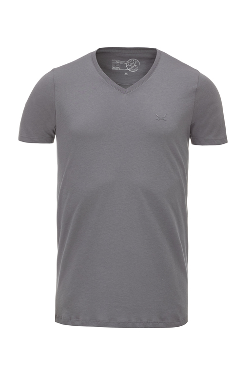 Herren T-Shirt PIMA COTTON V-Neck , graphite, S