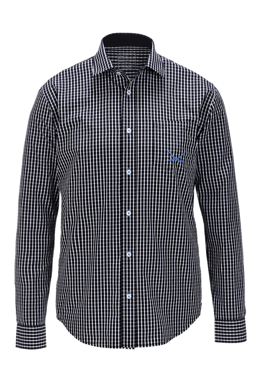Herren Hemd CHECK , black/ white, S