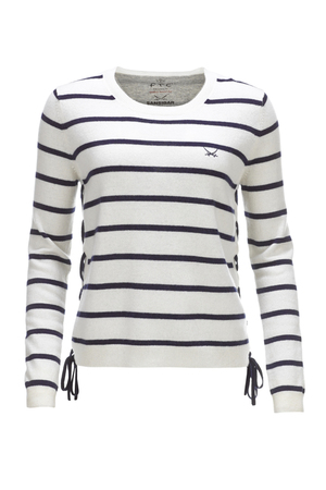 FTC Damen Streifenpullover HS1102 , white/ navy, XL