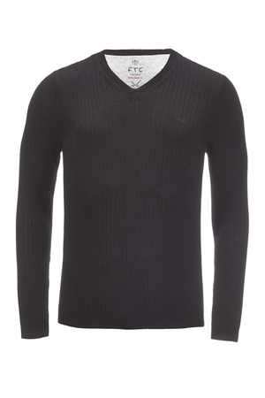 FTC Herren Pullover V Neck HS2098 , black, XL