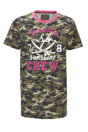 Girls T-Shirt Crew , Camouflage light, 128/134