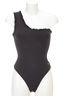 One Shoulder Swimsuit , black, XS