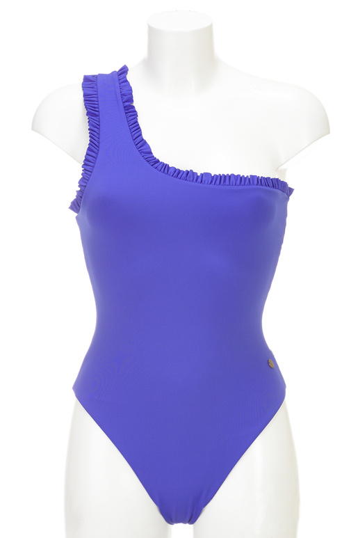 One Shoulder Swimsuit , blue, S