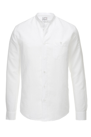 Herren Hemd Leinen Stand up Collar , white, M