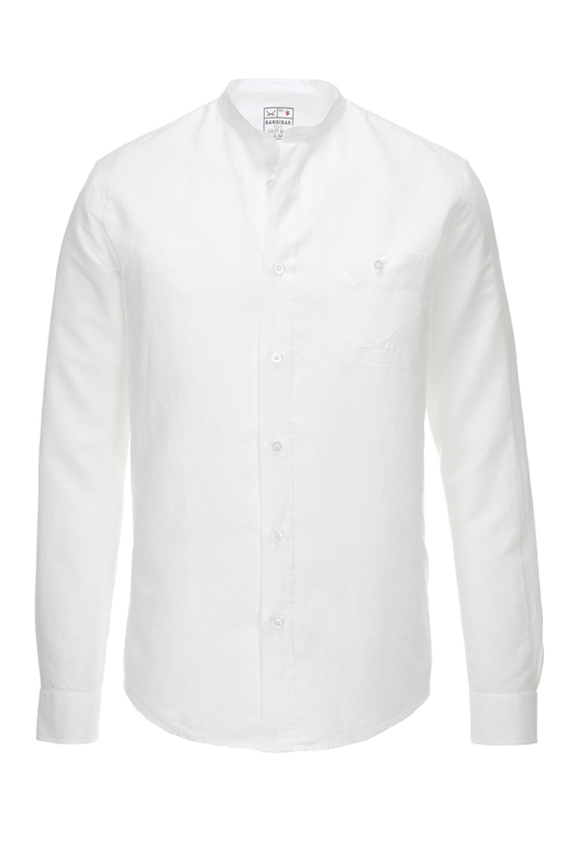 Herren Hemd Leinen Stand up Collar , white, XL