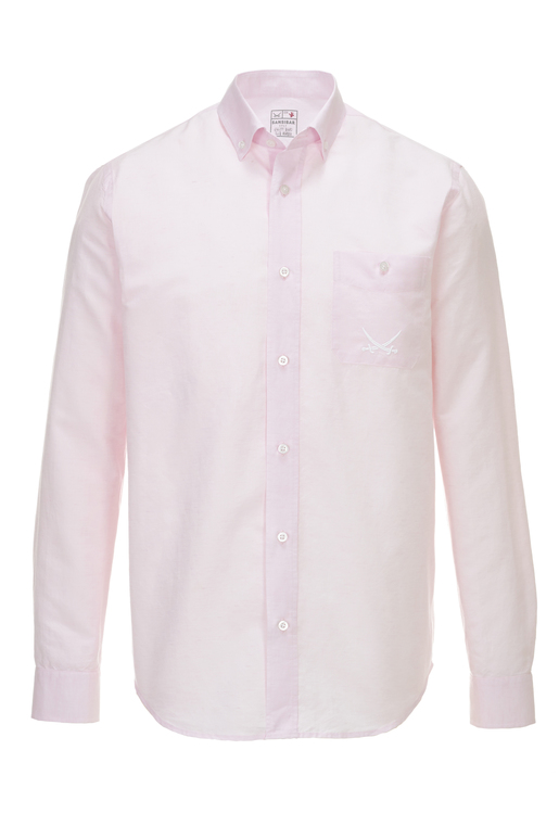 Herren Hemd Leinen Basic , light rose, M