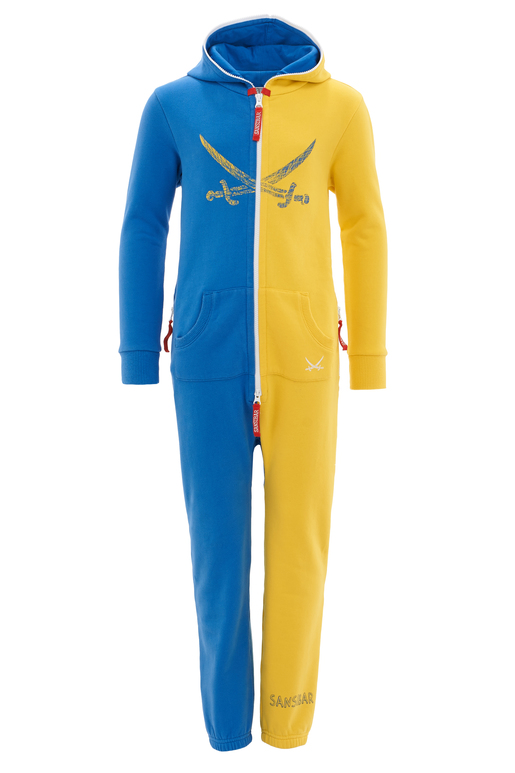 Kinder Jumpsuit , Blue/Yellow, 104/110