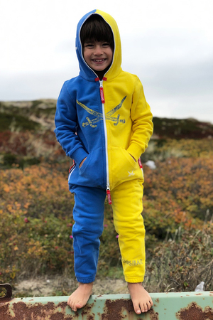 Kinder Jumpsuit , Blue/Yellow, 140/146