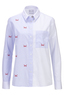 Damen Bluse one-side AOP , lightblue stripe, L