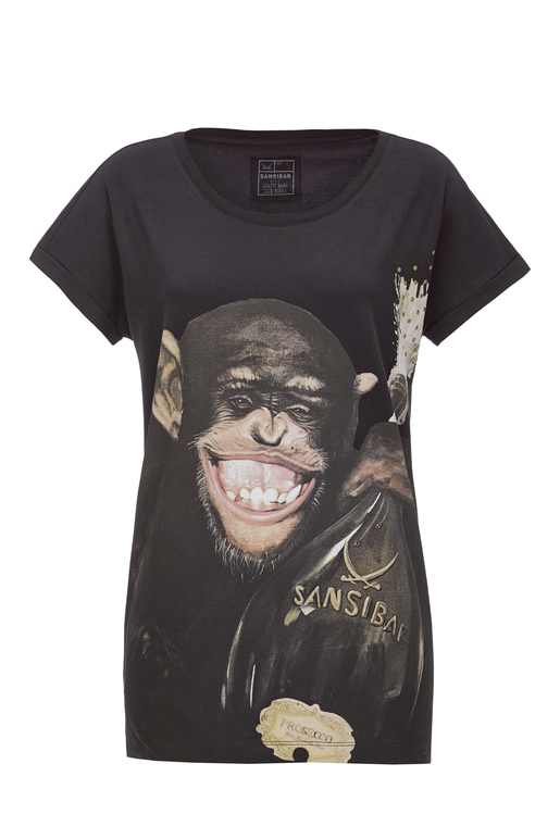 Damen T-Shirt Monkey , black, XXS