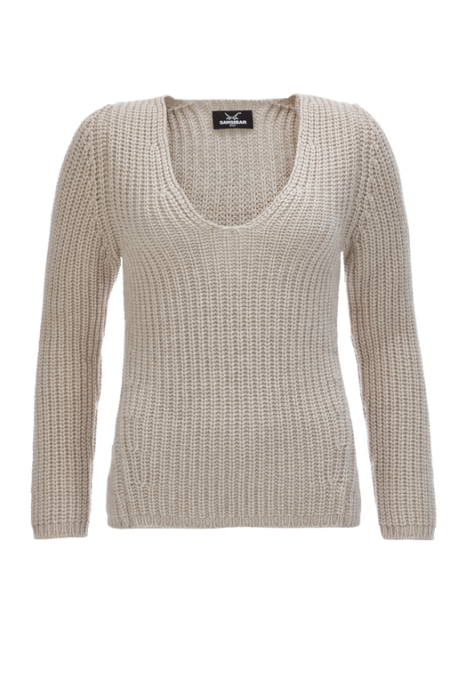 Damen Cashmere Pullover Rippe , grey, S