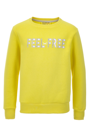 Girls Sweater FEEL FREE , yellow, 104/110