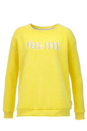 Damen Sweater FEEL FREE , yellow, XXS