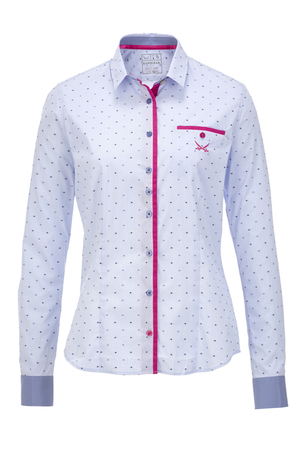 Damen Bluse DOTS , lightblue, XS