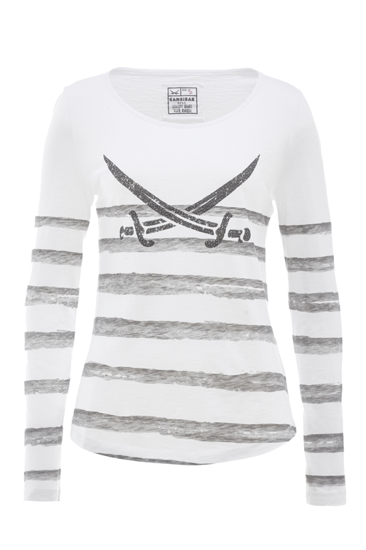 Damen Longsleeve STRIPES , weiss/grey, S