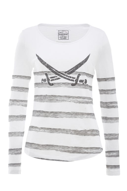 Damen Longsleeve STRIPES , weiss/grey, XS