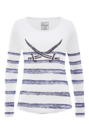 Damen Longsleeve STRIPES , weiss/grey, XXS
