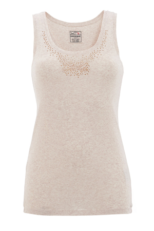 Damen Top STRASS , beigemelange, XL