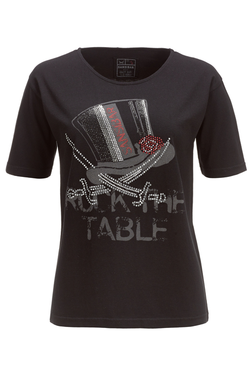 Damen T-Shirt ROCK THE TABLE , black, XXS