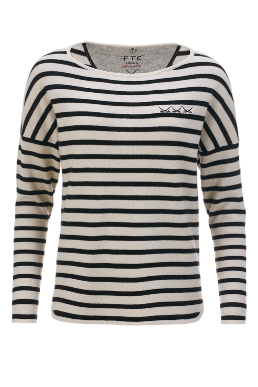 FTC Damen Pullover STRIPES , white/ black, XL