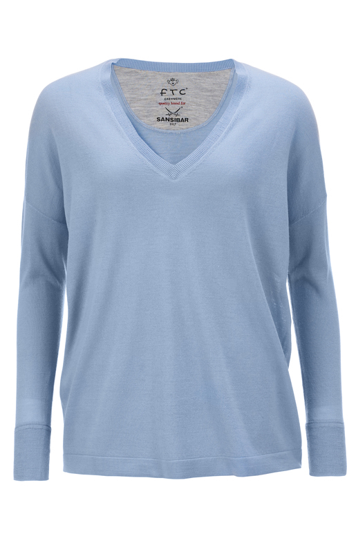 FTC Damen Pullover V-Neck , aqua blue, L