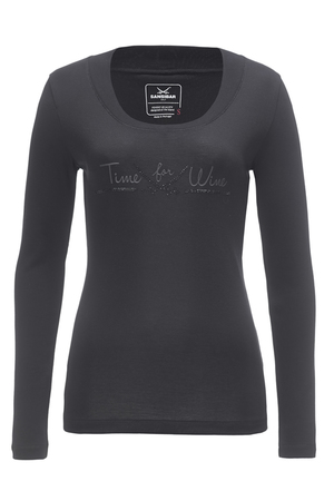 Damen Longsleeve TIME FOR WINE , black, XXS