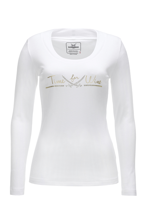 Damen Longsleeve TIME FOR WINE , white, XXXL