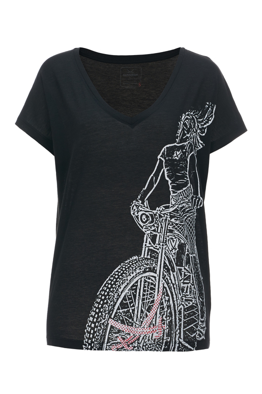 Damen T-Shirt BIKE RIDER , black, XS