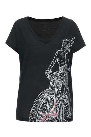 Damen T-Shirt BIKE RIDER , black, XL