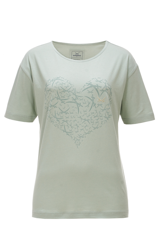 Damen T-Shirt HEART , milky green, XXS