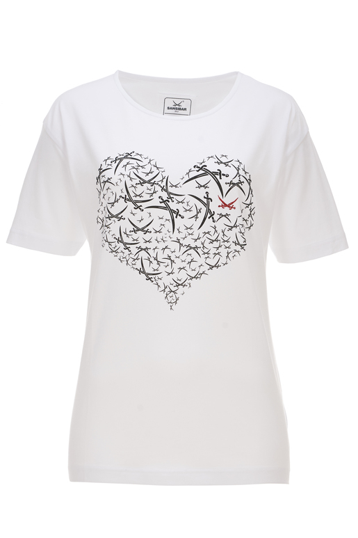 Damen T-Shirt HEART , white, XS
