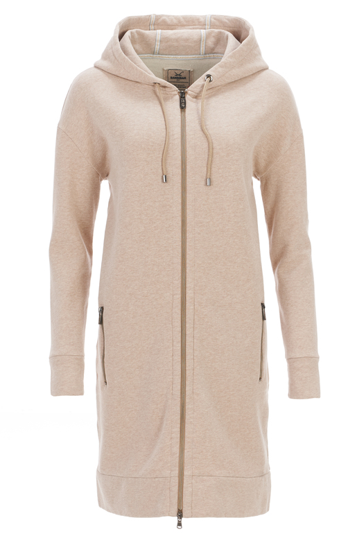 Damen Long-Sweatjacke , beigemelange, XXS