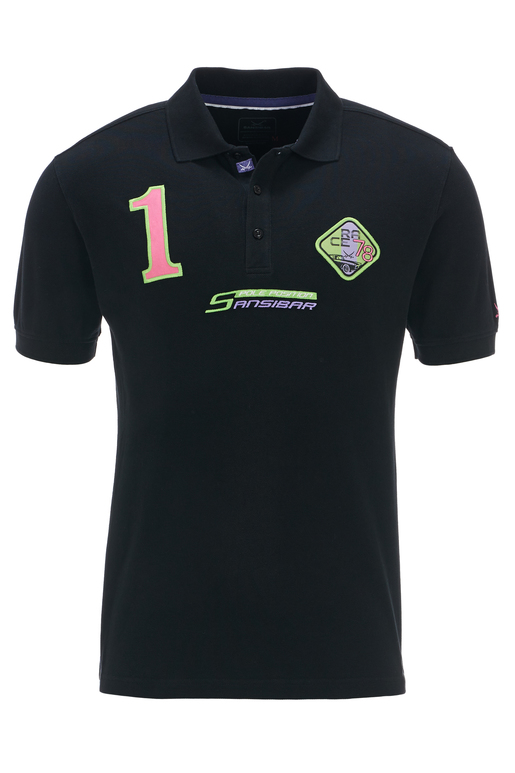 Herren Poloshirt POLE POSITION , black, S