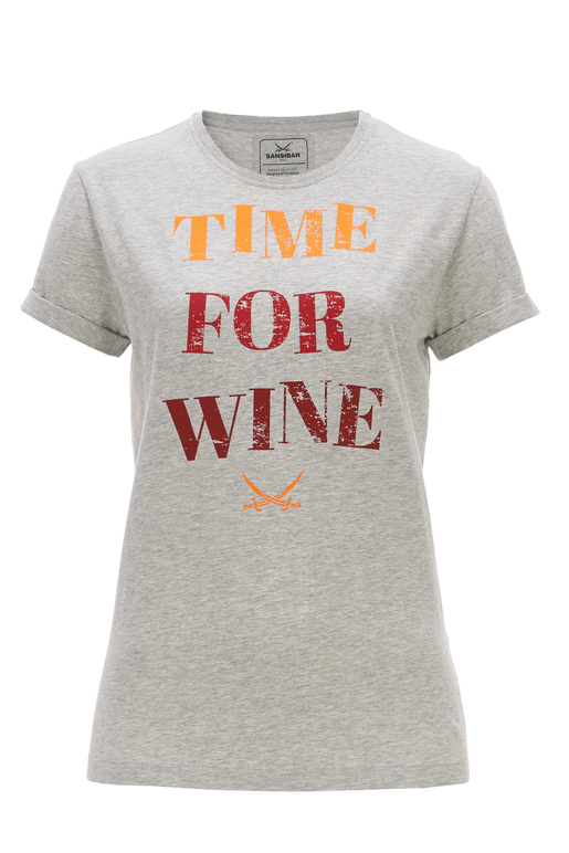 Damen T-Shirt TIME FOR WINE , greymelange, XS