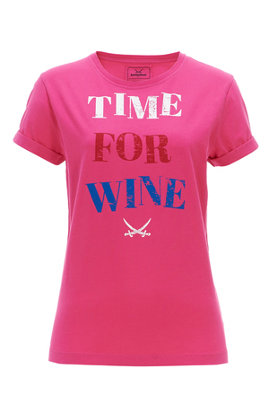 Damen T-Shirt TIME FOR WINE , greymelange, XXS