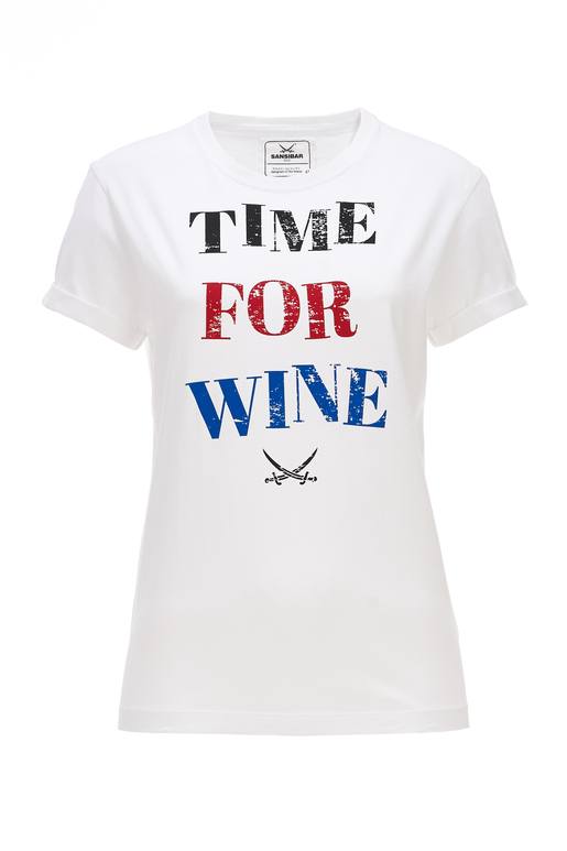 Damen T-Shirt TIME FOR WINE , white, XXS