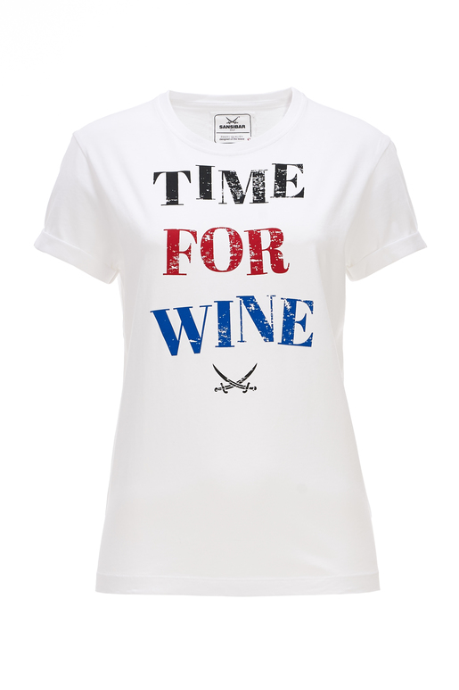 Damen T-Shirt TIME FOR WINE , white, M